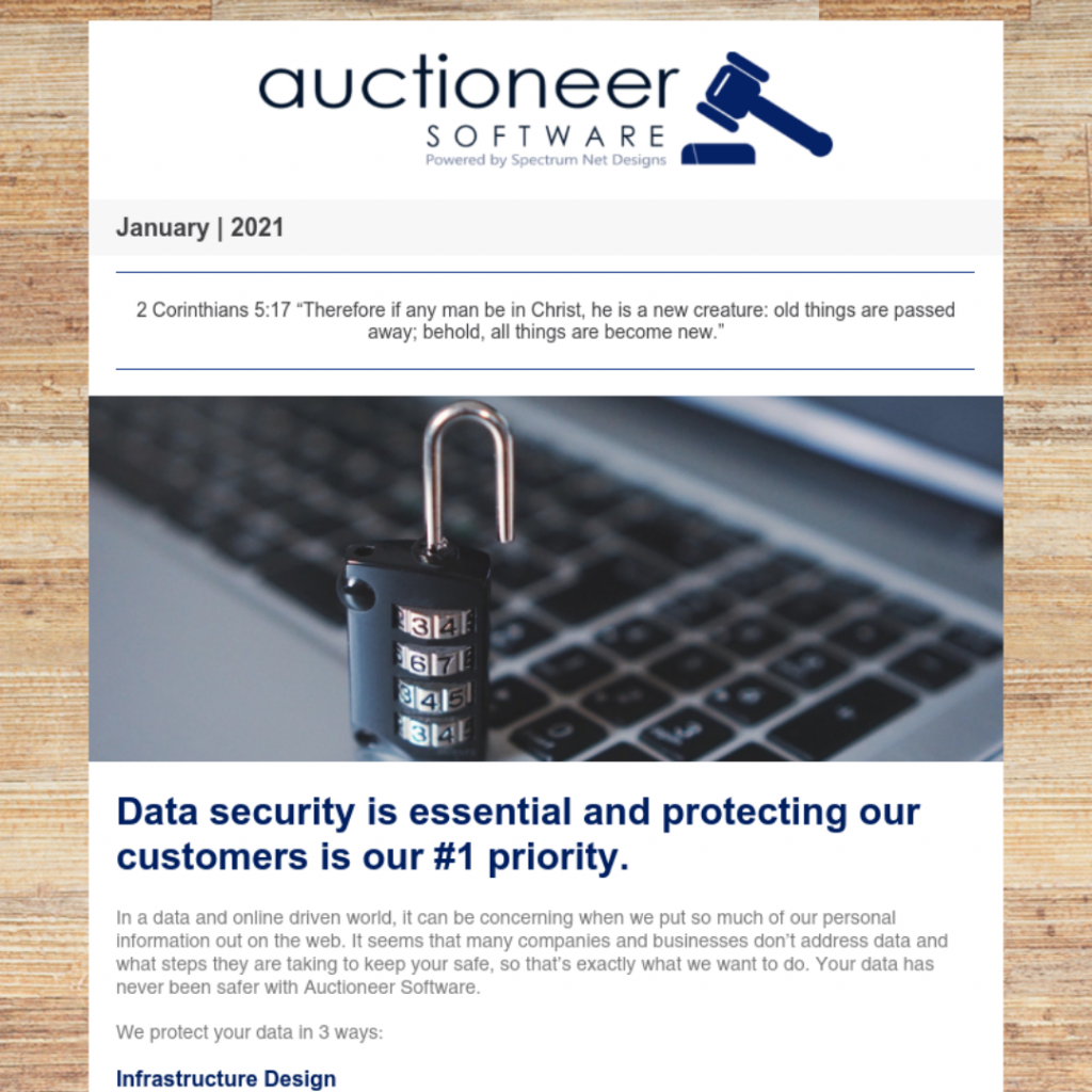 auctioneer software newsletter 1.8.21