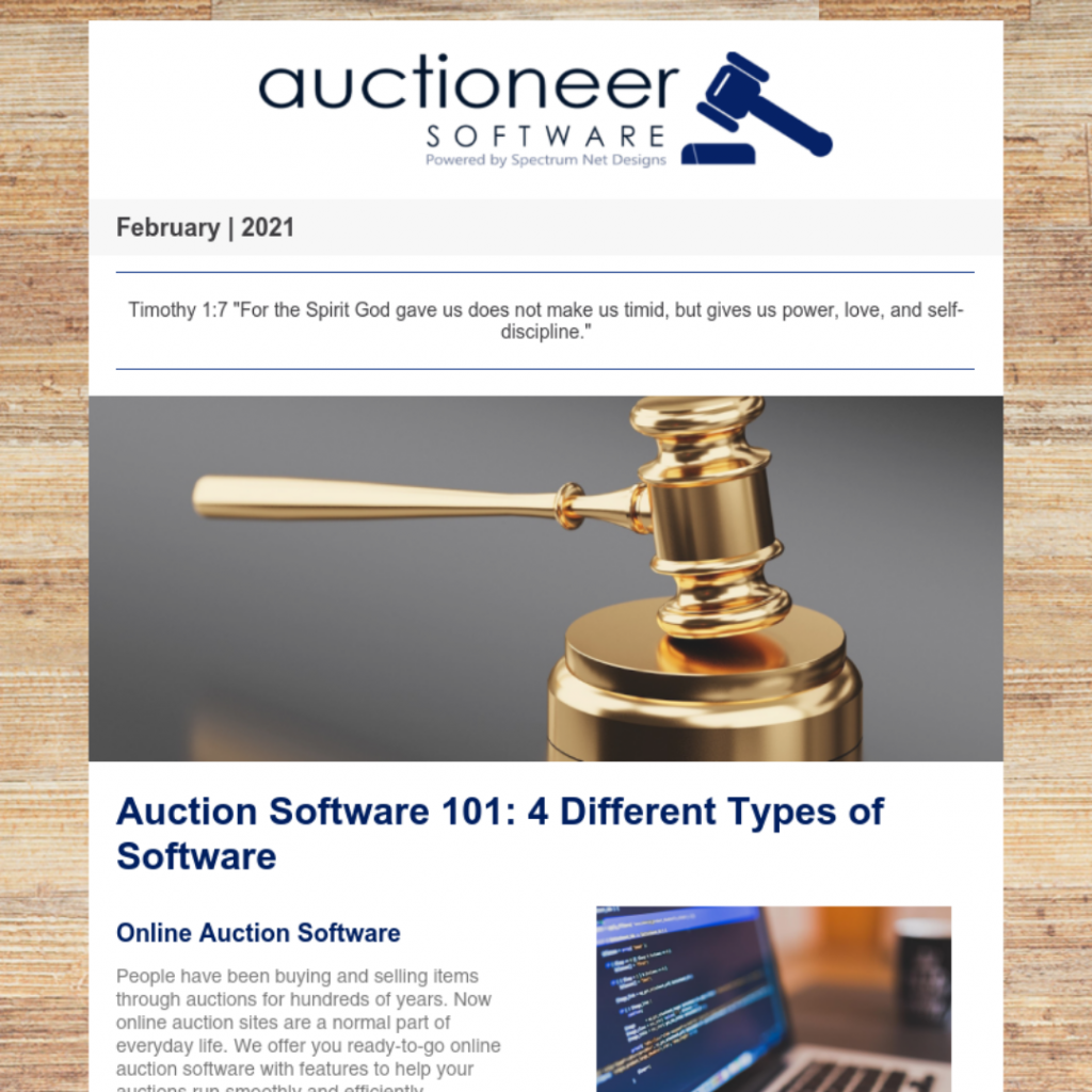 auctioneer software newsletter 2.18.21