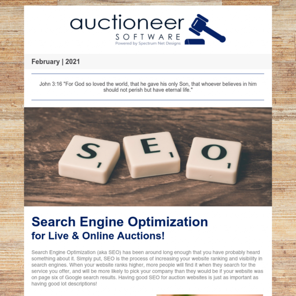 auctioneer software newsletter 2.25.21