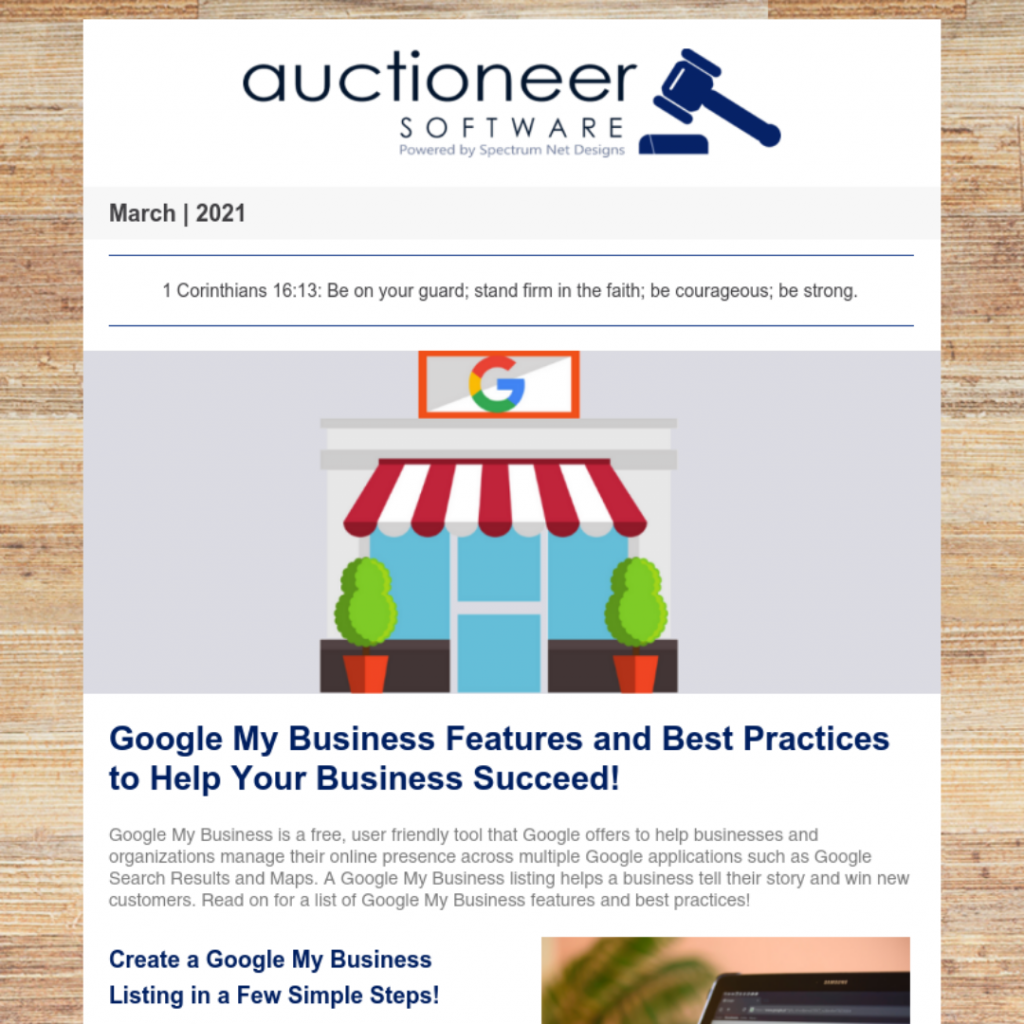 auctioneer software newsletter 3.4.21