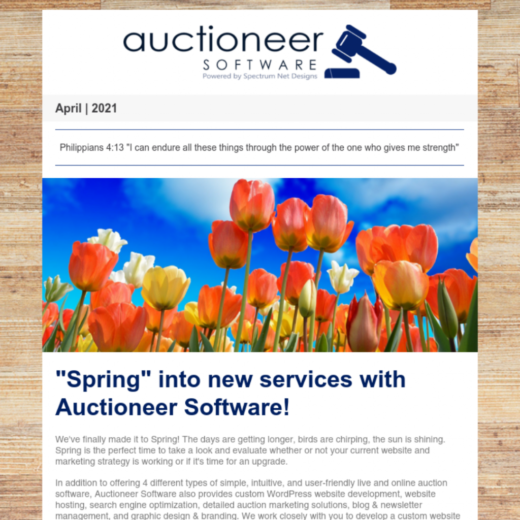 auctioneer software newsletter 4.1.21