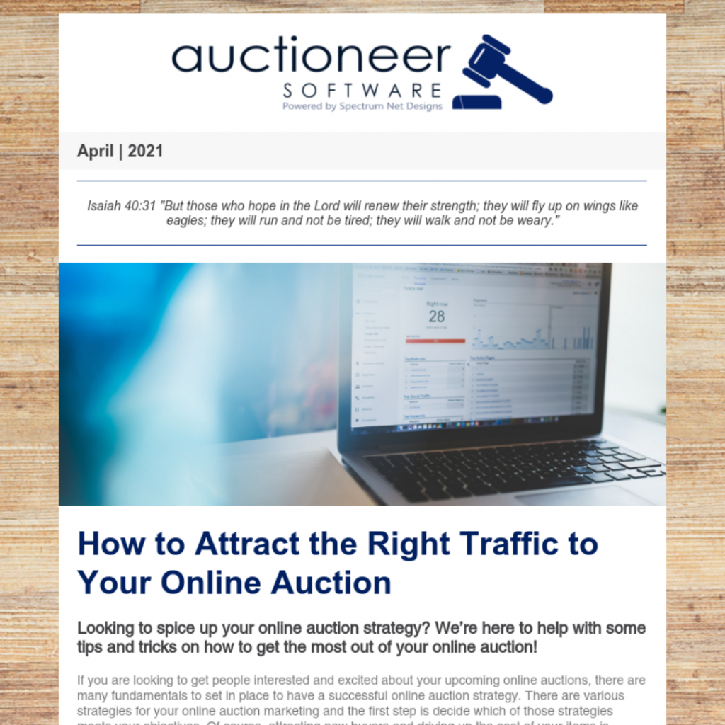auctioneer software newsletter 4.15.21
