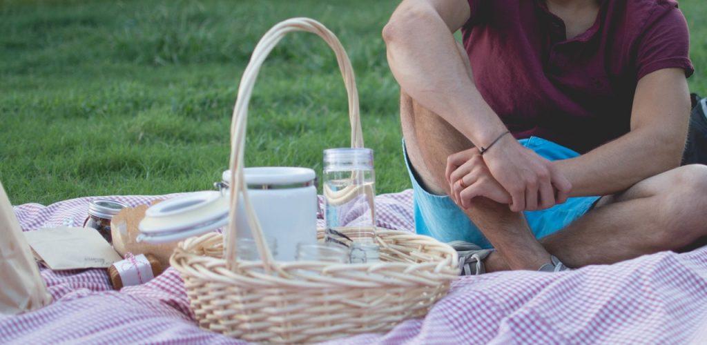 man having picnic outside